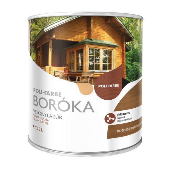 Poli-Farbe Boróka Oldószeres Vékonylazúr Mogyoró 2,5L