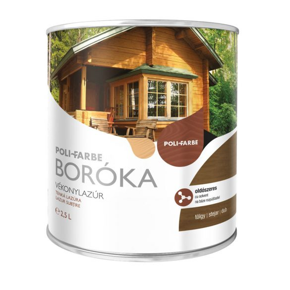 Poli-Farbe Boróka Oldószeres Vékonylazúr Tölgy 2,5L