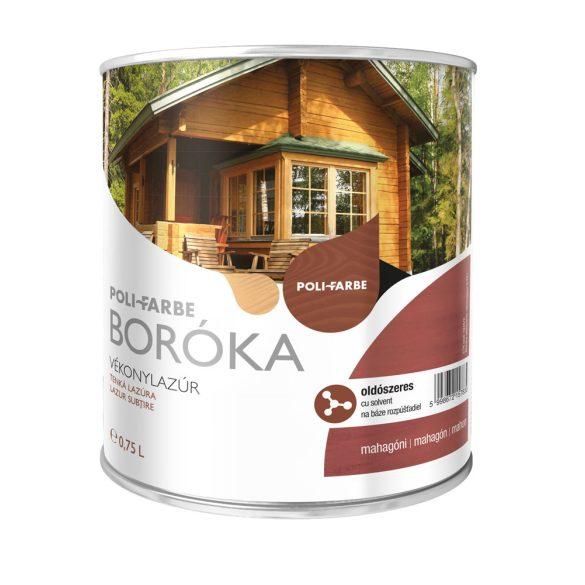 Poli-Farbe Boróka Oldószeres Vékonylazúr Mahagóni 0,75L