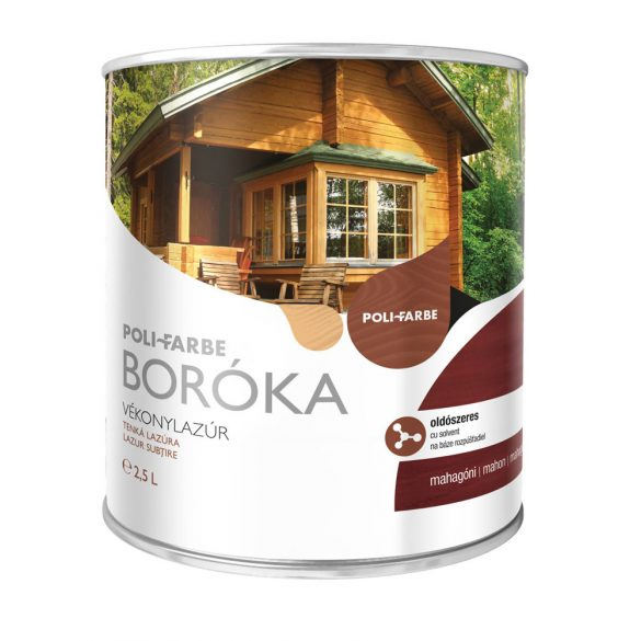 Poli-Farbe Boróka Oldószeres Vékonylazúr Mahagóni 2,5L