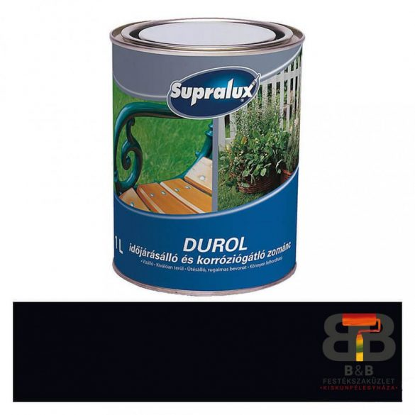 Supralux Durol időjárásálló és korróziógátló zománc fekete 1L