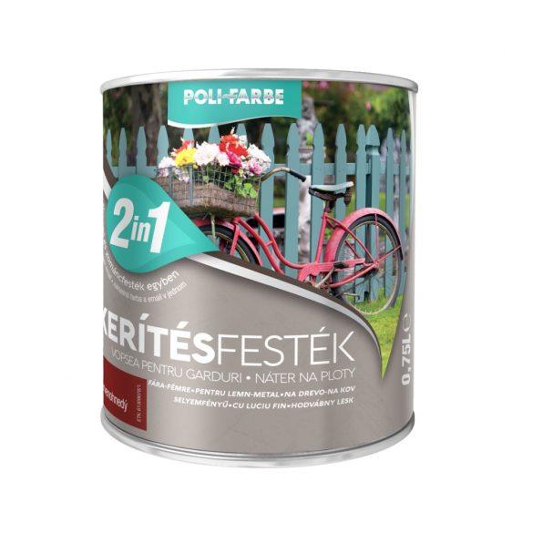 Poli-Farbe Kerítésfesték Vörös 0,75L